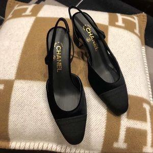 New Authentic Chanel Black Velvet Slingback Heels